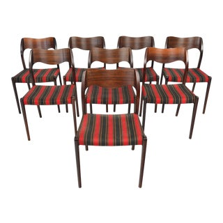 Moller Model 71 Rosewood Dining Chairs - Set of 8 For Sale