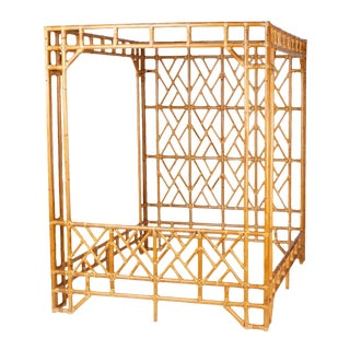 Mid Century Bamboo Canopy Bed For Sale