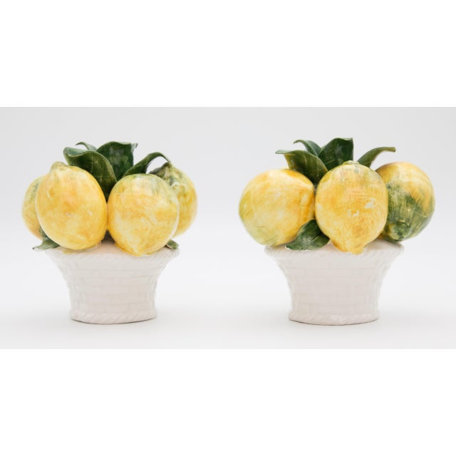 Lovely pair of Mid Century Italian majolica lemons candle holders table centerpiece. Brighten up your kitchen or dining...