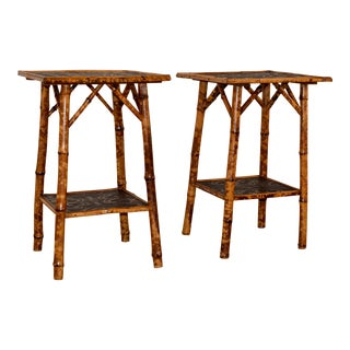 Set of Two 19th C Bamboo Side Tables For Sale
