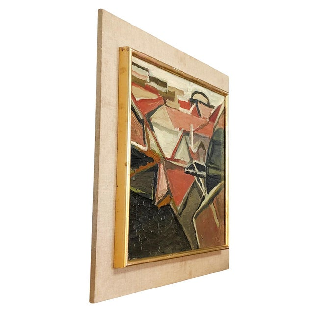 An abstract portrait of roofs, oil on wood in canvas by Daniel Clesse, painted in France, signed and dated in 1967....