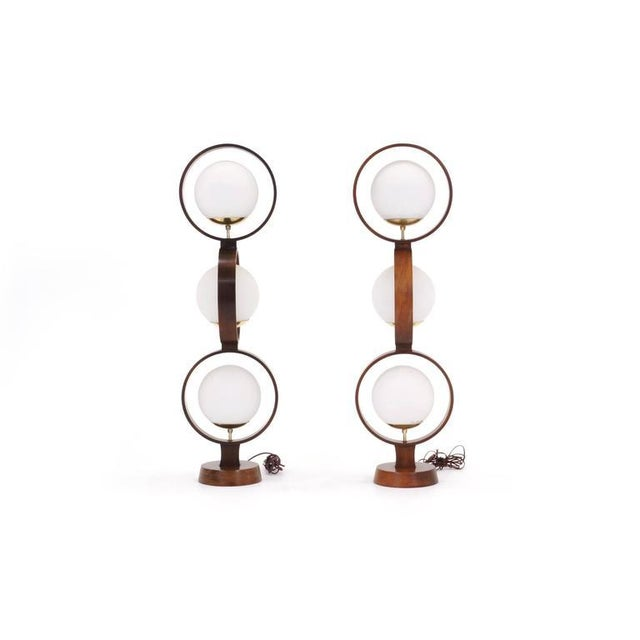 Danish Modern Large Pair of Danish Modern Three-Globe Table Lamps For Sale - Image 3 of 7