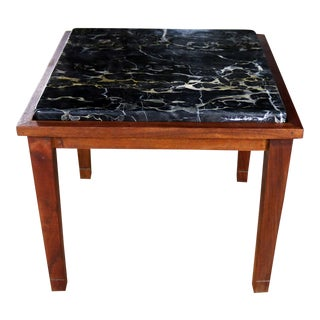 Mid Century Modern Walnut and Black Marble Square End or Side Table For Sale