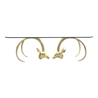 Polished Brass Ibex Ram's Head Glass Top Coffee Table For Sale