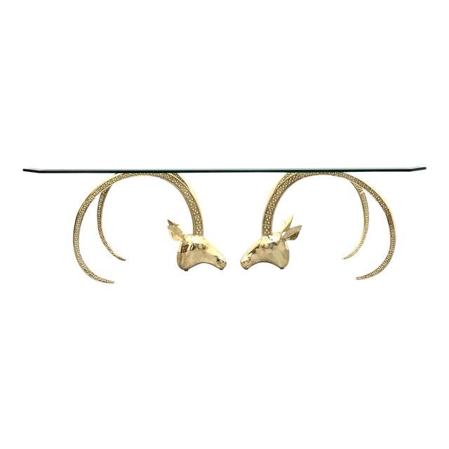 Polished Brass Ibex Ram's Head Glass Top Coffee Table For Sale
