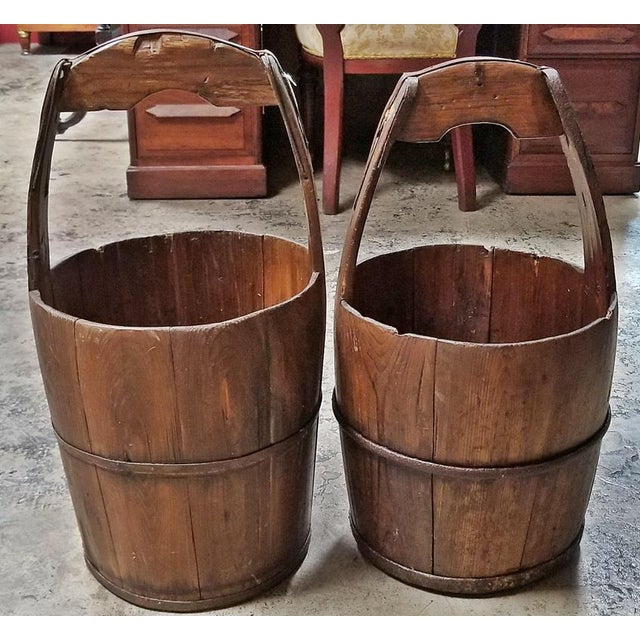 Pair of 19c Oak and Iron Banded Water Buckets or Pails For Sale - Image 11 of 11