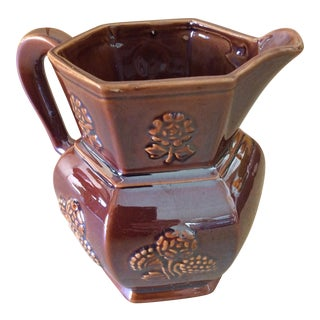 Rustic Brown Lusterware Pitcher For Sale
