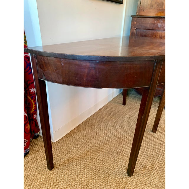 Antique Traditional Walnut Demi-Lune Table For Sale - Image 4 of 9