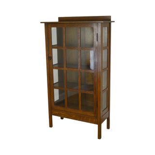 Gustav Stickley Mission Oak Arts & Crafts China Cabinet Bookcase For Sale