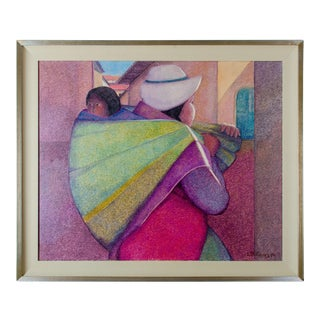 """Woman With Child"" by Ernesto Gutierrez Oil on Canvas For Sale"