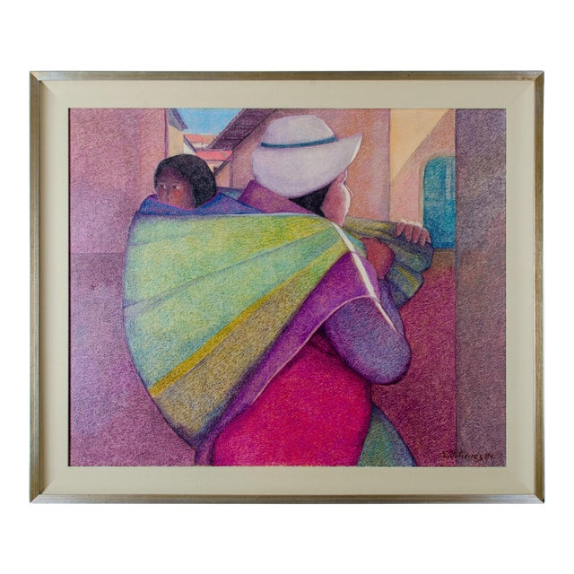"""""""Woman With Child"""" by Ernesto Gutierrez Oil on Canvas For Sale"""