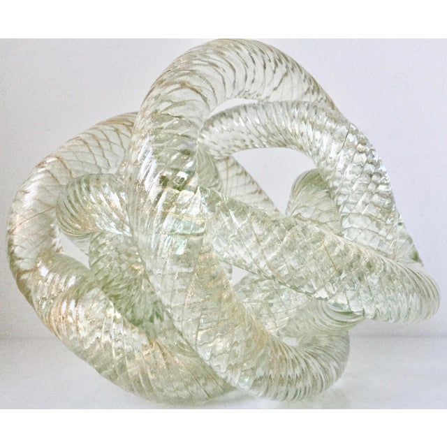 """Glass Large Murano Glass 8""""Twisted Knot Sculpture For Sale - Image 7 of 13"""