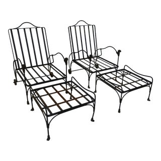 Gio Giacometti Lounge Chairs With Ottomans - 4 Pieces For Sale
