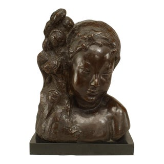 French Art Deco Bronze Bust Of A Nymph For Sale