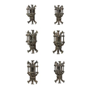 French Forged Iron Sconces From the Early 20th Century With Patina - Set of 6 For Sale