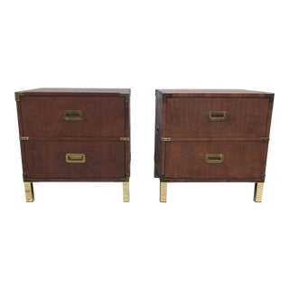 Henredon Campaign Style Nightstands/End Tables- a Pair For Sale