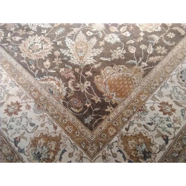 "Origin: India Size: 8'0"" x 9'7"" Design: Tabriz/Oushak Material: Wool Primary Color: Vanilla Secondary Color: Chocolate..."