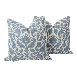 Blue and Ivory Windsor Baroque Linen Pillows, a Pair For Sale