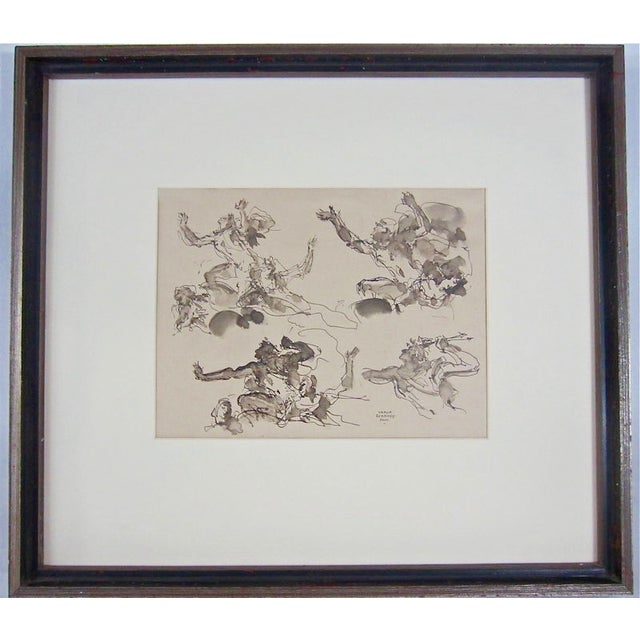 Serge Ivanhoff Figural Studies, 1949 Ink Drawing - Image 2 of 6