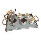 Image of Antique Silver Plate and Porcelain Chocolate Set of 7 For Sale