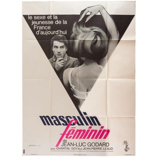 "1966 French Godard Film Poster ""Masculin Feminin"""