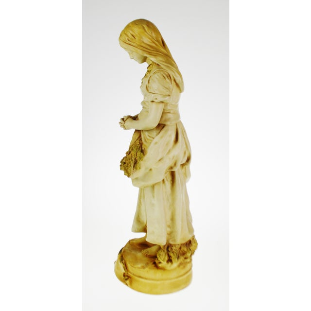 Marwal Ind. Inc. Marwal Ind. Inc. Vintage L'Angelus Chalkware Statue For Sale - Image 4 of 10