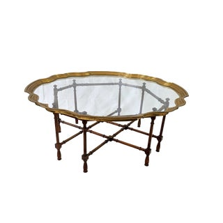 1960s Boho Chic Baker Furniture Co. Faux Bamboo Glass and Brass Coffee Table For Sale