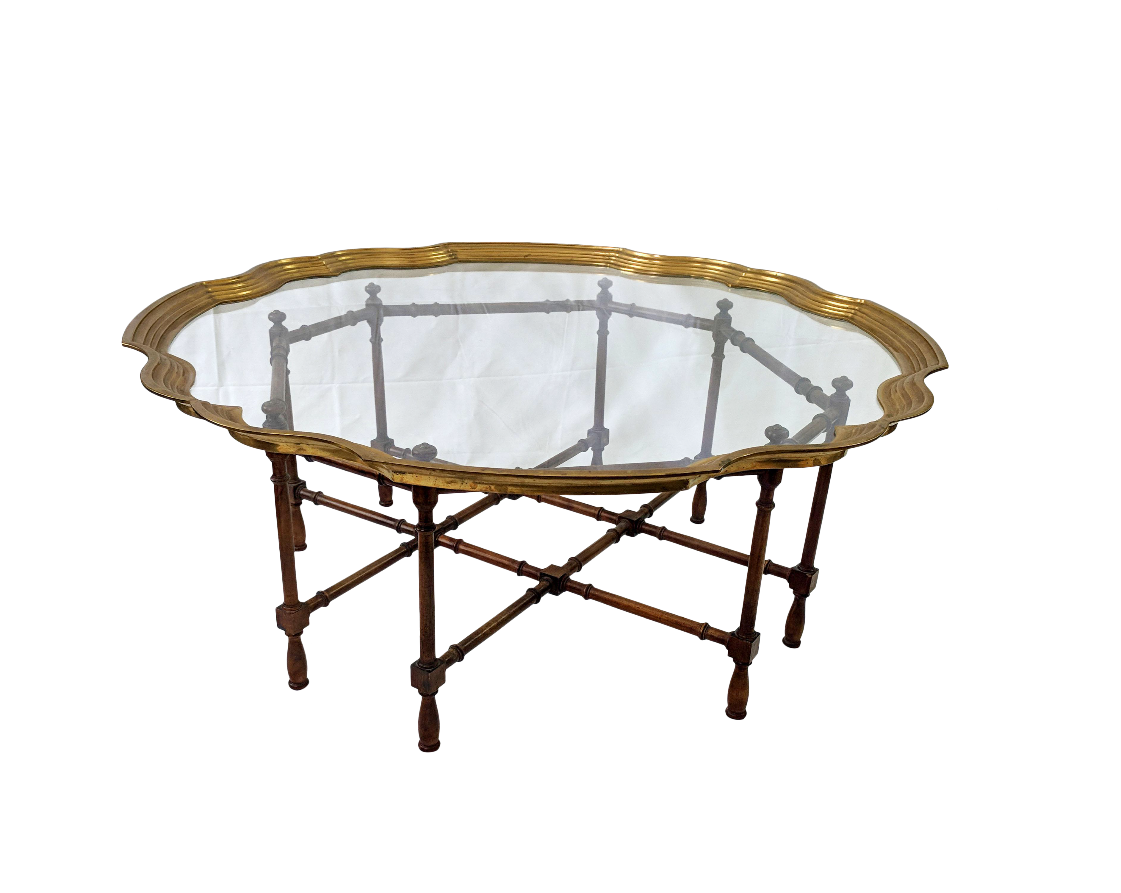 Merveilleux 1960s Boho Chic Baker Furniture Co. Faux Bamboo Glass And Brass Coffee  Table For Sale