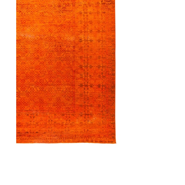 "New Hand-Knotted Overdyed Orange Rug - 8'3"" X 9'10"" - Image 1 of 3"