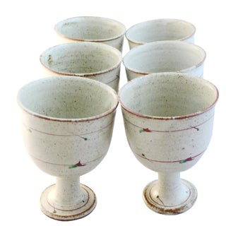 Country-Style Pottery Wine Cups - Set of 6