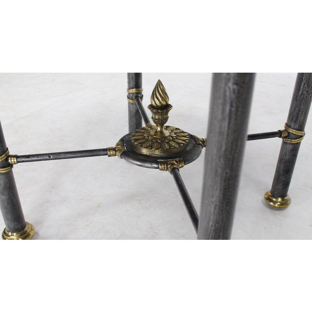 Decorative Maitland-Smith bronze hammered metal finish base lamp table stand. Beautiful faux egg shell decorated top.