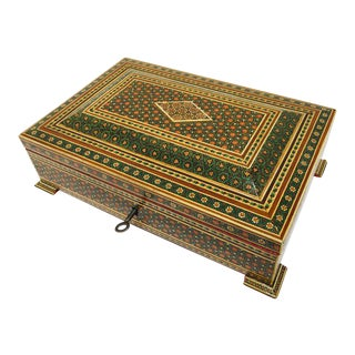 1940s Moorish Anglo-Persian Jewelry Mosaic Khatam Inlaid Box For Sale