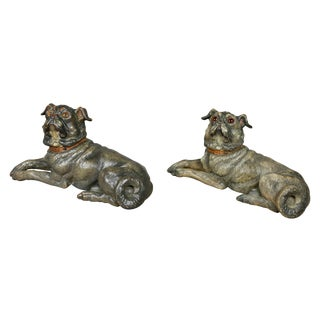 Reclining Pug Dogs Terracotta Figures - a Pair For Sale