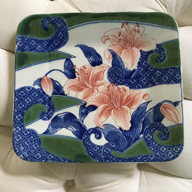 White 20th Century Japanese Toyo Serving Platter in Orchid Motif For Sale - Image 8 of 9