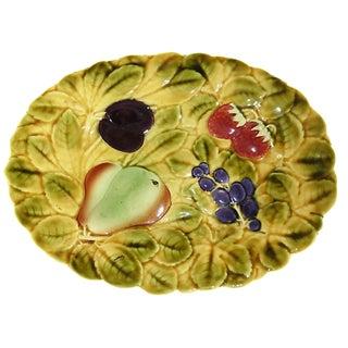 Oval Majolica Fruit Platter, 1930 For Sale