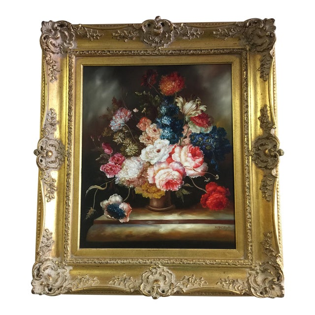 Ornate Floral Oil Painting - Image 1 of 5
