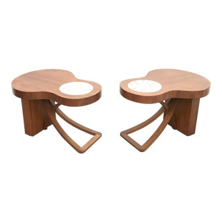 Art Deco Walnut End Tables With Marble Tops - a Pair For Sale