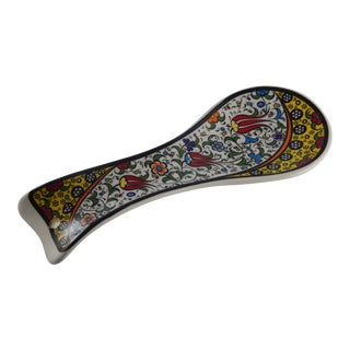 Turkish Ceramic Spoon Rest With Tulip Pattern For Sale