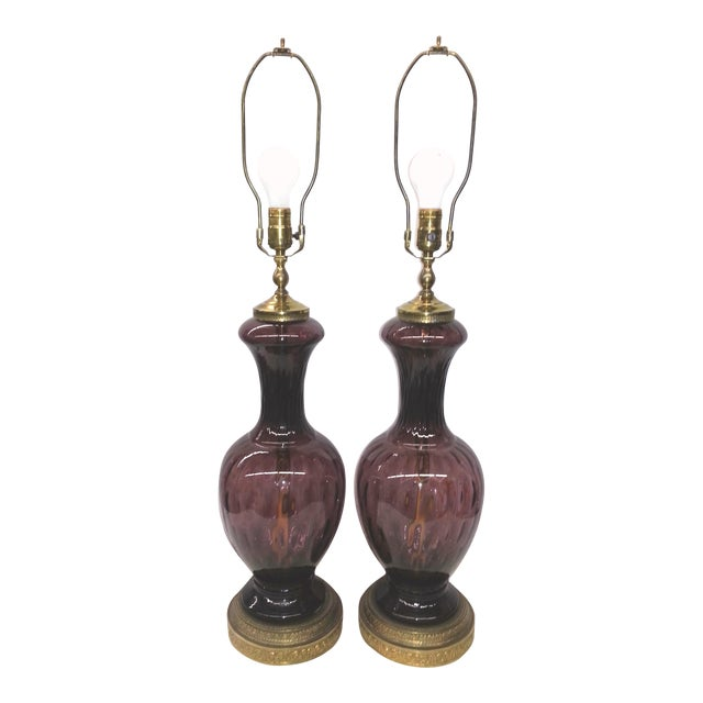 Amethyst Blown Glass Mid-Century Lamps - Pair - Image 1 of 4