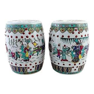 Antique Chinese Ceramic Garden Stools - Pair For Sale