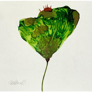 Green & Gold Poured Resin Botanical Art For Sale