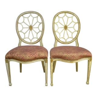 Painted Spider Back Hepplewhite Chairs With Patterned Upholstery - a Pair For Sale