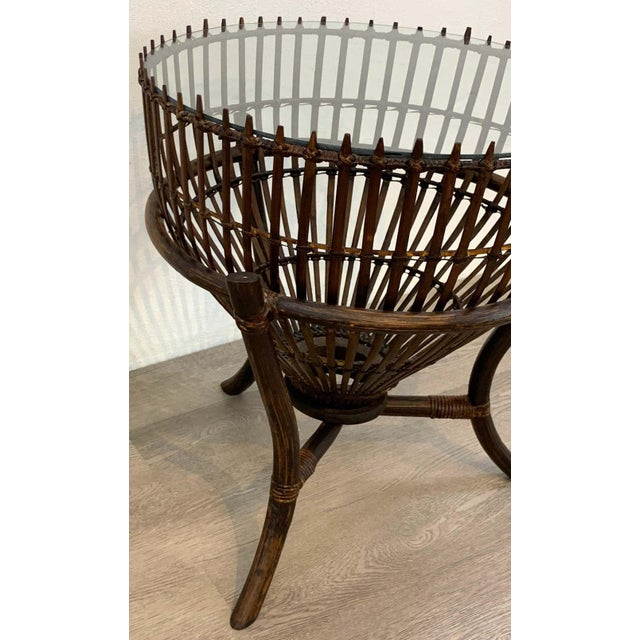 Franco Albini Style Fish Trap Rattan and Glass Side Table, Restored For Sale - Image 4 of 5
