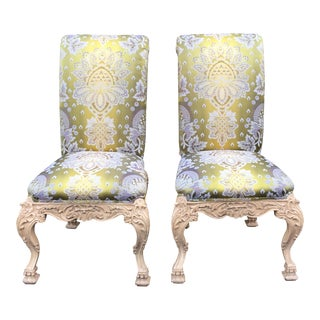 Carved Italian Side Chair With Venetian Style Green Silk Lampas