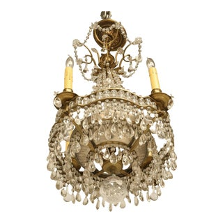 Antique French Bronze Petite Chandelier For Sale