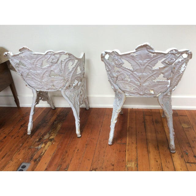 Victorian Iron Fern Garden Chairs - A Pair For Sale - Image 4 of 9