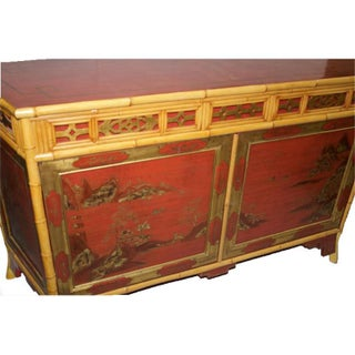 Red Japanned and Bamboo Sideboard by M.Montreau Preview