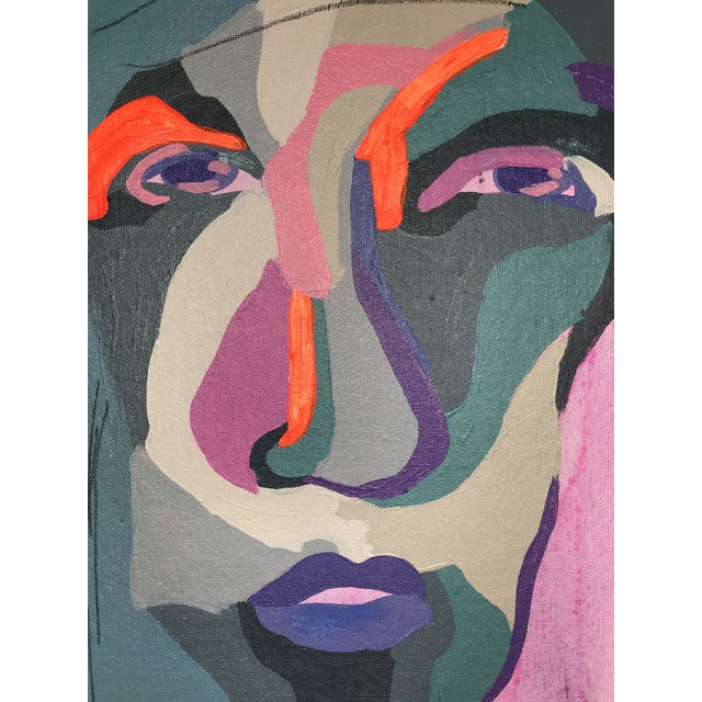 """Contemporary Abstract Portrait Painting """"Hero Lady, No. 3"""" - Framed For Sale - Image 4 of 10"""