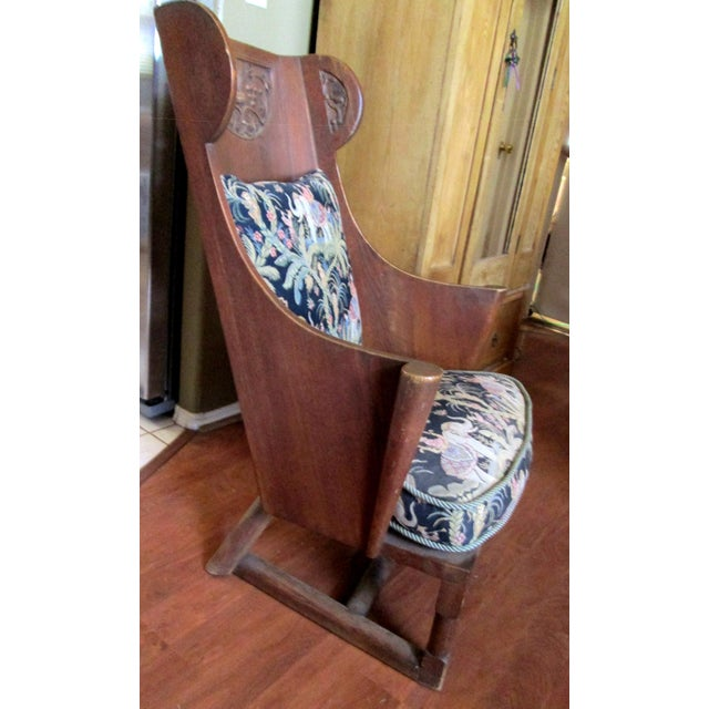 Antique Ornate Carved Wooden Wingback Chair W/ Monkey & Elephant Upholstered Cushions For Sale In Phoenix - Image 6 of 11
