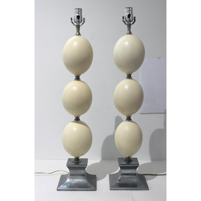 Mid-Century Modern Tony Duquette Style Ostrich Egg Table Lamps - a Pair For Sale - Image 12 of 13